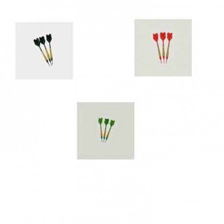 Fléchettes standards 3 vertes 3 noires 3 rouges