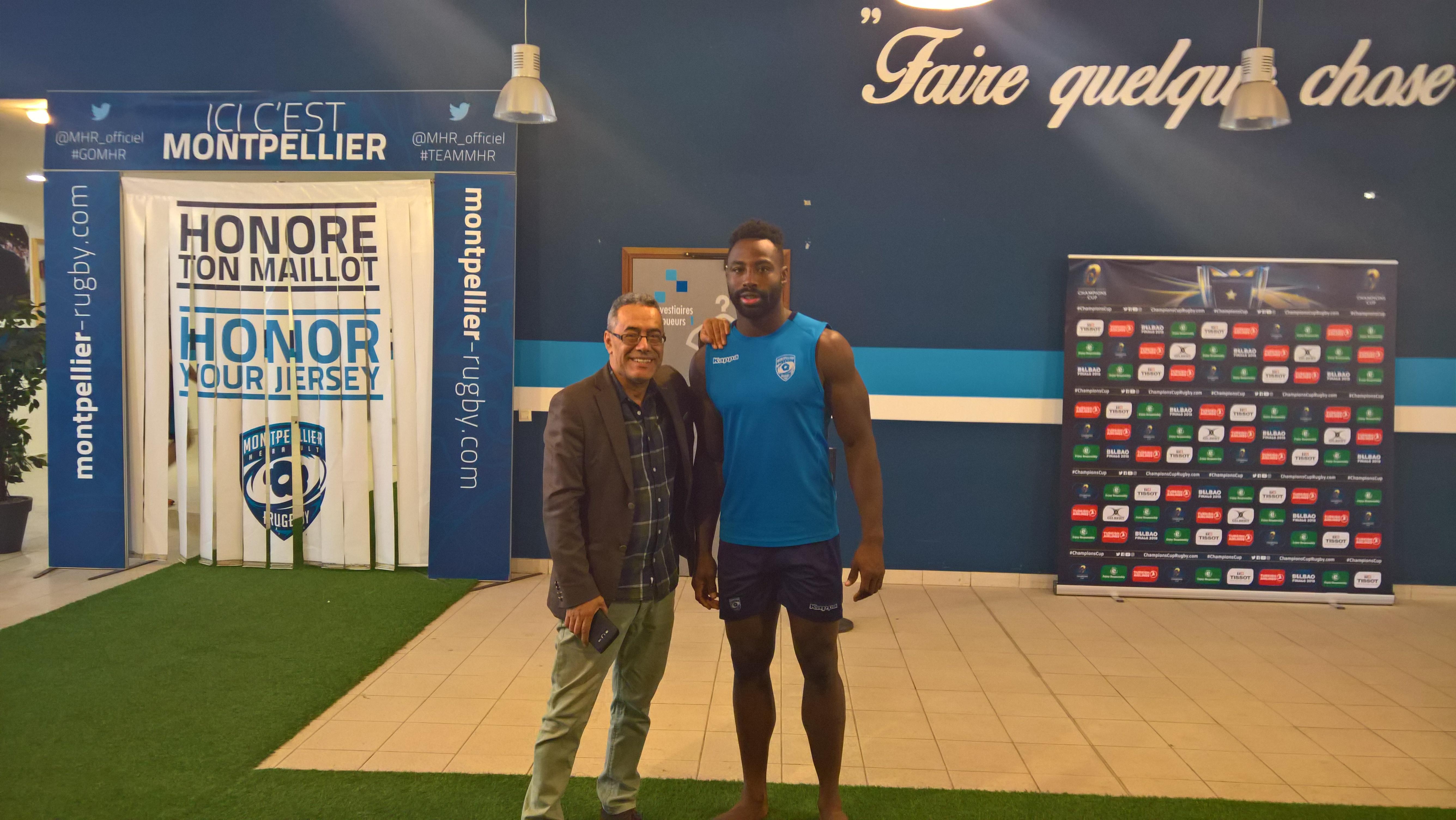 Le patron de Billard BMV avec un Rugbyman de Montpellier Rugby Club